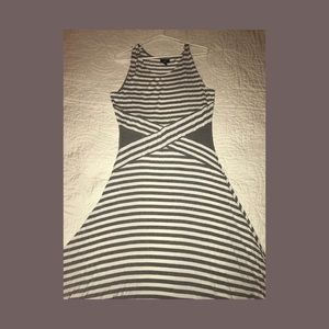 Mossimo sleeveless knit, gray, striped midi dress